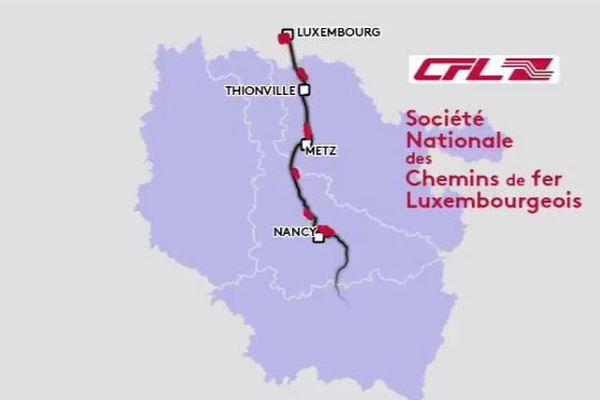 TER : cartographie ligne Nancy-Metz-Luxembourg