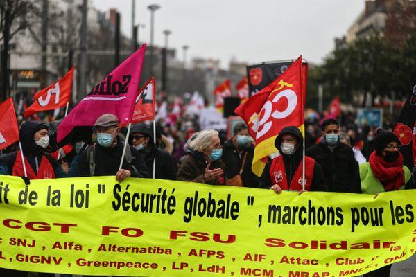 Manifestation contre le projet de loi dite de Sécurité globale à Nantes le 18 janvier 2021