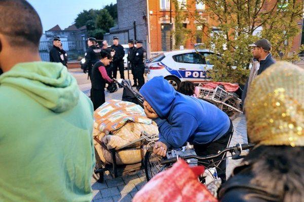 Evacuation d'un camp de Roms à Roubaix, ce jeudi 3 octobre.