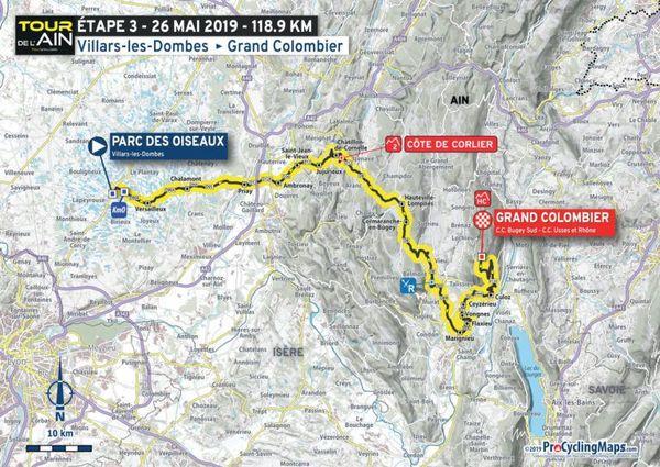 La carte du parcours de la 3e étape du Tour de l'Ain 2019
