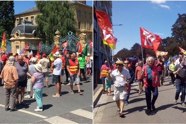 A gauche, le rassemblement de Charleville et à droite, celui de Troyes.