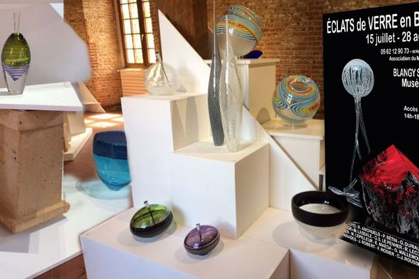 """Quelques unes des oeuvres exposées à la biennale de l' """"Eté verrier"""" de Blangy"""