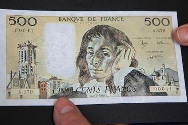 Un demi-billet de 500 francs signé Gainsbourg parti aux enchères pour 5.000 euros (illustration)