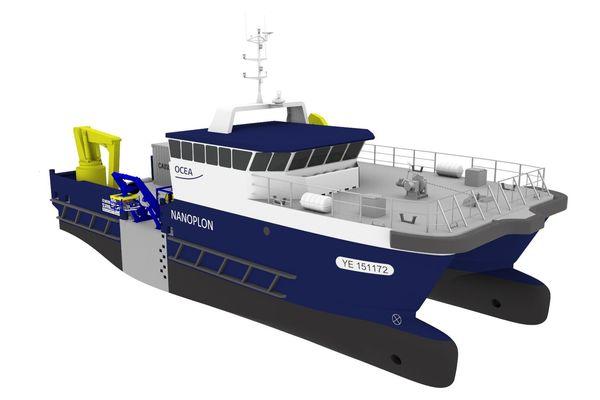 Le Nanoplon, catamaran vendéen pour un armateur vendéen, polyvalent et sûr, pour répondre aux besoins de l'éolien en mer en matière de travail au large et sécurité