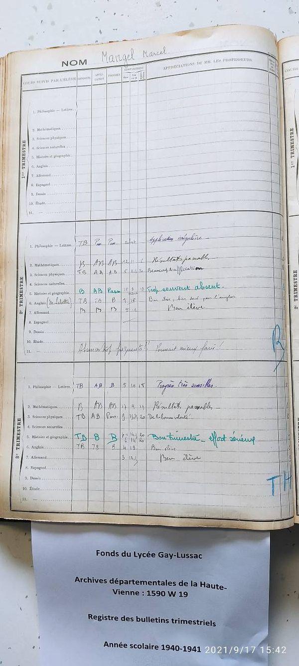 Marcel Mangel a intégré le lycée Gay-Lussac en cours d'année, dès le deuxième trimestre, probablement en janvier 1941, au moment de son installation dans la ville.