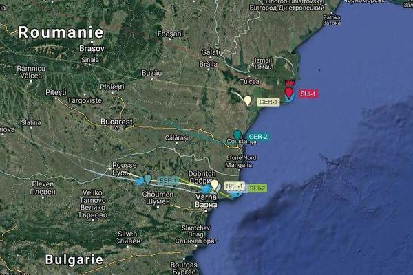Les lieux où les ballons de la Gordon Bennett se sont posés mardi 17 septembre.
