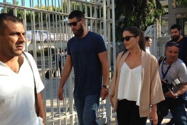 Nikola Karabatic et Géraldine Pillet à leur arrivée le 22 juin 2015