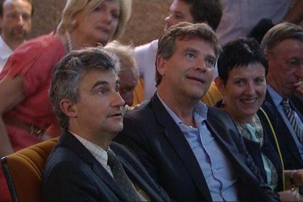 André Accary, actuel président du conseil departemental de Saône-et-Loire, et Arnaud Montebourg, unis pour défendre le projet du center parc du Rousset.