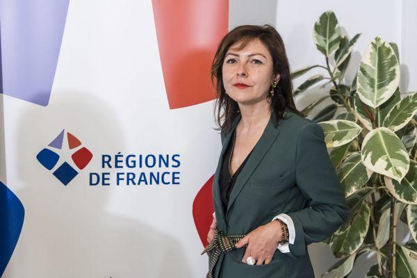 Paris - Carole Delga lors de la conférence de presse suivant son élection à la présidence de Régions de France - 9 juillet 2021.