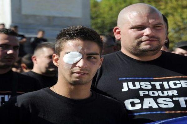 """Montpellier : manifestation des """"ultras"""" supporteurs de football pour Casti - 13 octobre 2012."""