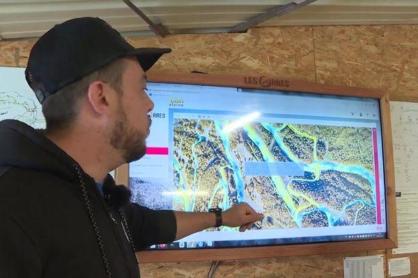 Cartographie de l'enneigement du domaine skiable.