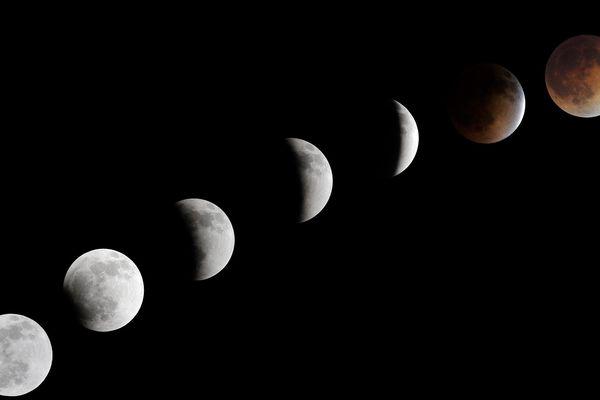 Archives, 15 Avril 2014. Eclipse lunaire à las Vegas, Nevada, USA