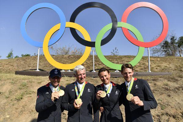Philippe Rozier, Roger-Yves Bost, Pénélope Leprevost, Kevin Staut médaillés olympiques en saut d'obstacles par équipe aux jeux de Rio.