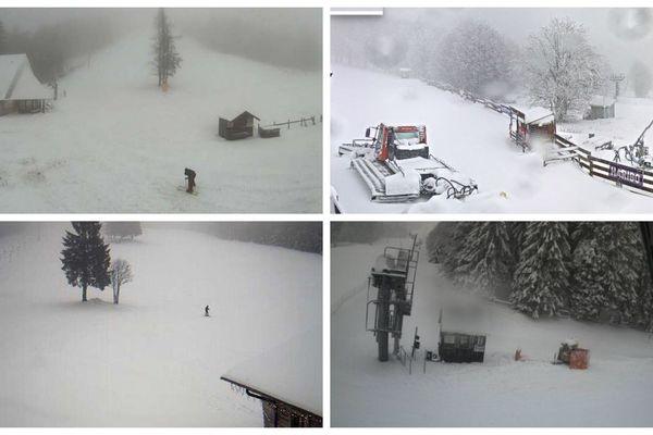 Photos prises par les webcams des stations de ski Unterstmatt, Markstein, Ruhestein et Schepfenried, vendredi 13 décembre 2019