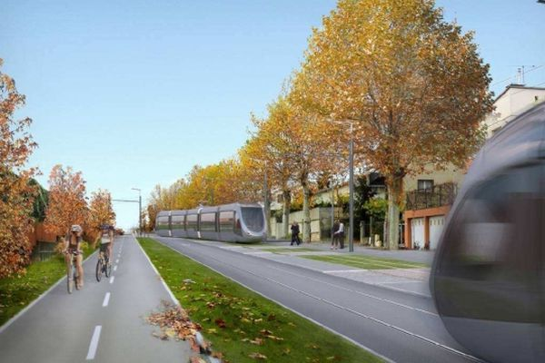 Une image de synthèse du futur tramway Envol