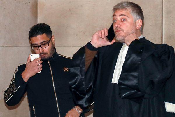 Jawad Bendaoud et son avocat Xavier Nogueras à la cour d'appel de Paris le 21 novembre 2018.