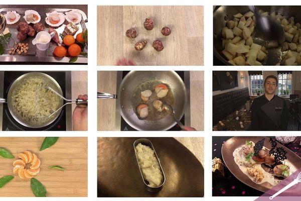 Les étapes de la recette des noixde Saint-Jacques aux clémentines et topinambours