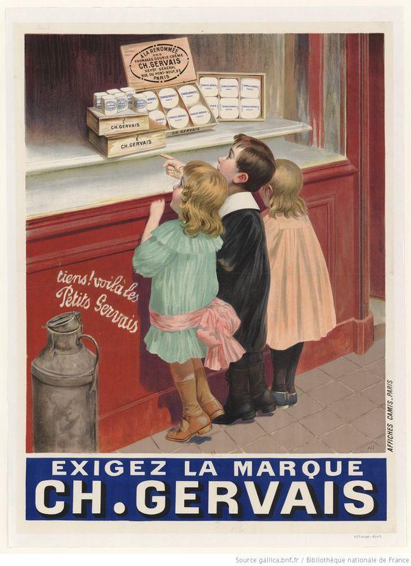 Publicité pour les petits-suisses de Gervais en 1900