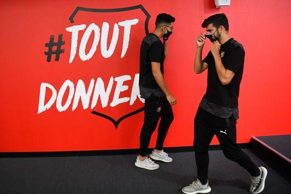 Les nouvelles recrues du Stade rennais Nayef Aguerd et Martin Terrier en conférence de presse