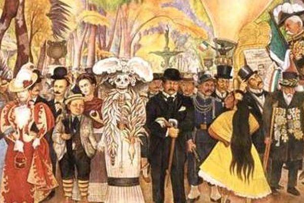 """Diego Rivera a repris le personnage au centre de sa peinture murale """"Sueño de una Tarde Dominical en la Alameda Central"""", terminée en 1948"""
