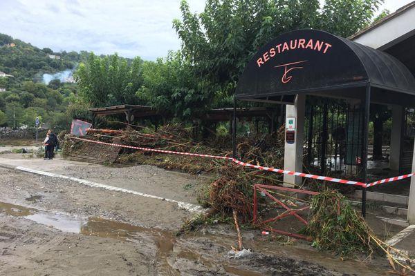 Un restaurant totalement ravagé par les crues à Anduze.