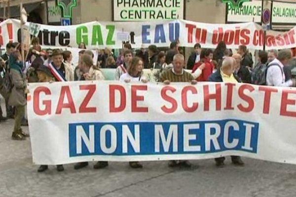 Manifestation contre l'exploitation de gaz de schiste à Brive, 08-06-2013