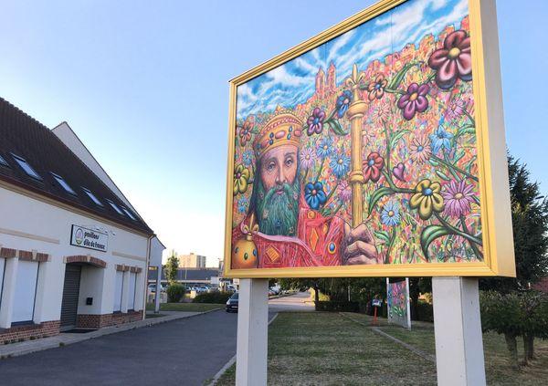 """La fresque représentant Charlemagne, """"l'empereur à la barbe fleurie""""."""