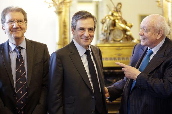 François Fillon avec Jean-Claude Gaudin et Guy Tessier à Marseille le 16 mars dernier.