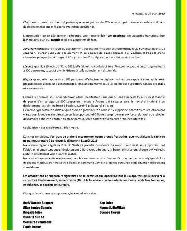 """Dans un communiqué commun, l'ensemble des clubs de supporters nantais ont fait part de leur """"indignation"""" face à la décision de la préfecture de Gironde."""