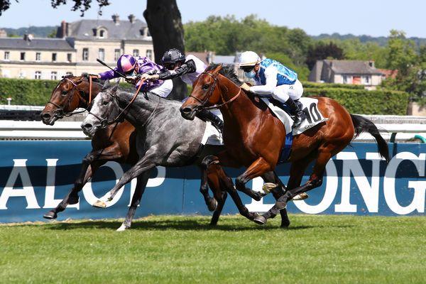 Les jockeys courent masqués sur l'hippodrome de Chantilly, dans l'Oise.