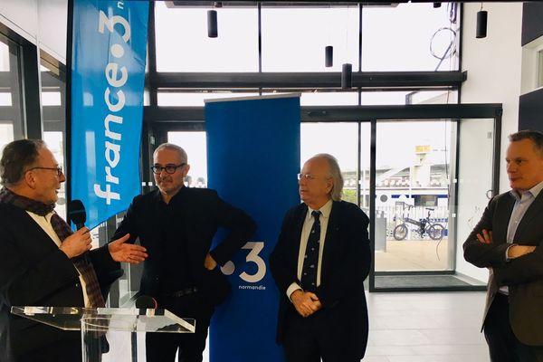 Mercredi 30 janvier 2019, Olivier Montels, directeur le réseau France 3, Patrick Herr président de l'Armada, Stéphane Gaillard directeur régional de France 3 Normandie et Gilles Lefèvre rédacteur en chef de France 3 Normandie ont signé le partenariat de l'évènement.