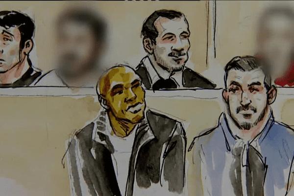 Ibrahim Camara, au premier rang à gauche dans le box des accusés, dessiné par Christophe Busti.