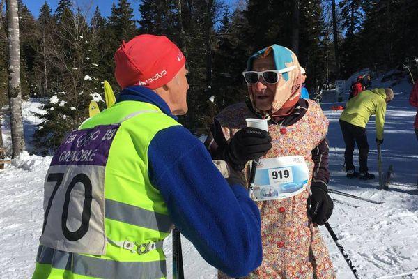 Le premier vainqueur de la course en 68 et l'un des fondateurs avaient chaussé les skis pour célébrer comme il se doit les 50 ans de la Trans'Vercors Nordic