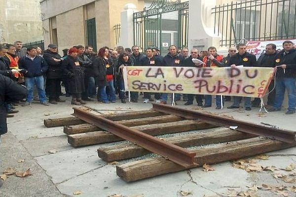 Narbonne (Aude) - manifestation des cheminots - 12 décembre 2013