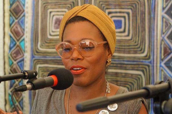 China Moses en conférence de presse à Jazz à l'Evêché le 23 juin 2016.