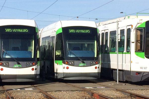 Les tramways de Nantes ne sont pas sortis du dépôt lundi 14 août.