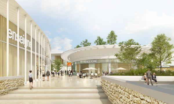 Maquette virtuelle du projet de centre commercial Kallisté à Lucciana (entrée Sud).