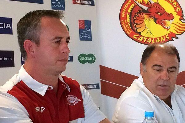 Perpignan - Steve McNamara, nouvel entraîneur des Dragons catalans, (à gauche) en conférence de presse - juin 2017.