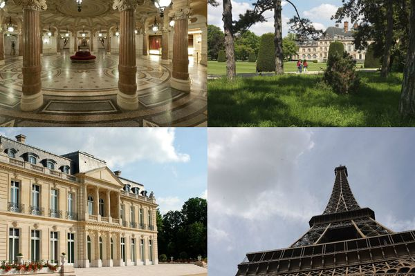 L'opéra Garnier, la Cité universitaire internationale, le château de la Muette et la tour Eiffel.