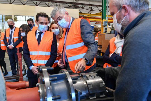 Visite de Jean Baptiste Djebbari Ministre délégué chargé des transports à l'entreprise Texelis à Limoges le 18.12.2020