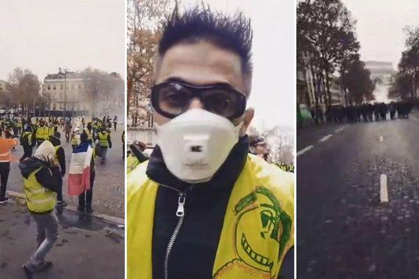 Yannick Krommenacker, lors de la manifestation parisienne des Gilets jaunes, le 1er décembre.