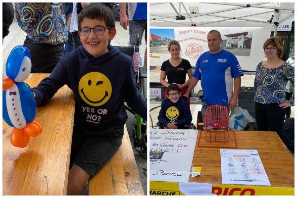 Quentin, 11 ans, a rencontré plusieurs fois les membres de l'association Motocoeur 28, dont son président Jérôme Geslain (en bleu, à droite).
