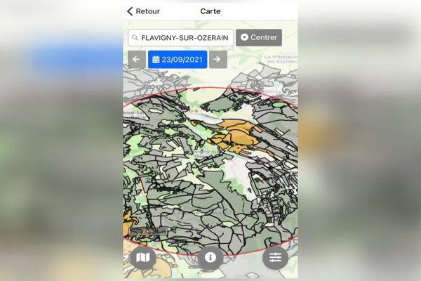 L'application permet de voir sur une carte les zones où des battues sont programmées.