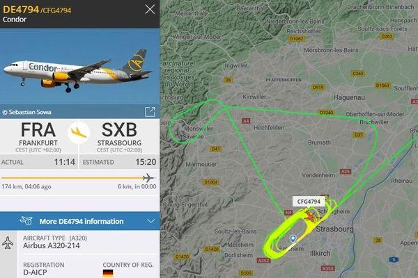 Les détails de l'appareil, et sa trajectoire en rond via Flightradar.