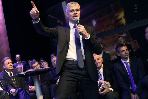 Le député-maire du Puy-en-Velay Laurent Wauquiez annonce sa candidature aux élections régionales le 15 janvier 2015 à Lyon pour diriger Rhône-Alpes-Auvergne
