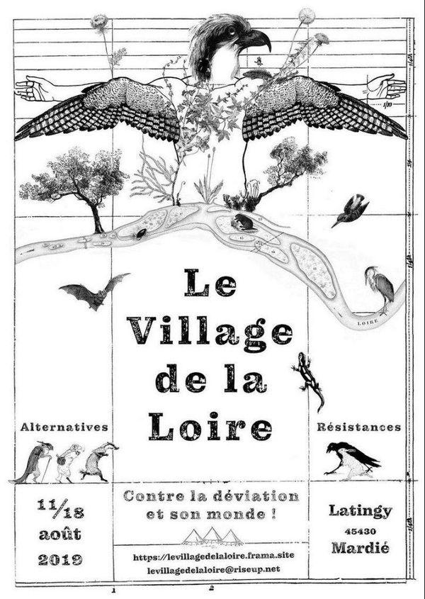 Affiche du village éphémère contre la déviation de Jargeau.