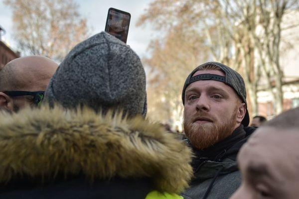 Maxime Nicolle, alias Fly Rider dans une manifestation à Toulouse le 19 janvier 2019