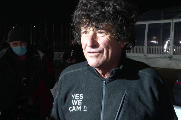 Jean Le Cam, quatrième du Vendée Globe 2020 à son arrivée aux Sables-d'Olonne, le 28 janvier 2021