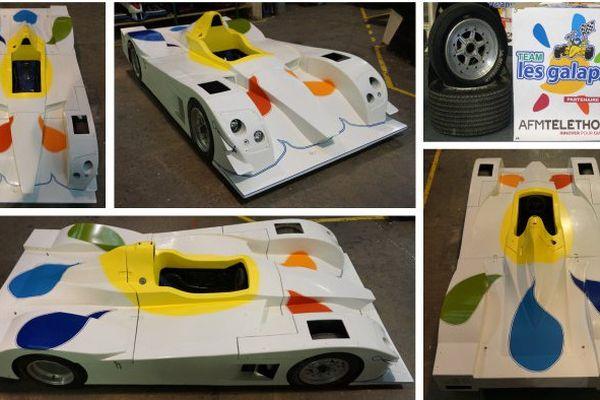 Le lot de la tombola : une voiture pour enfants inspirée de prototypes des 24H du Mans.