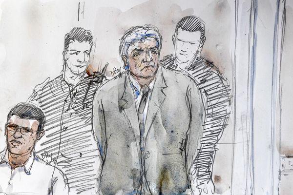 Wojciech Janowski, visible ici dans le croquis, a été condamné à la prison à perpétuité en première instance.